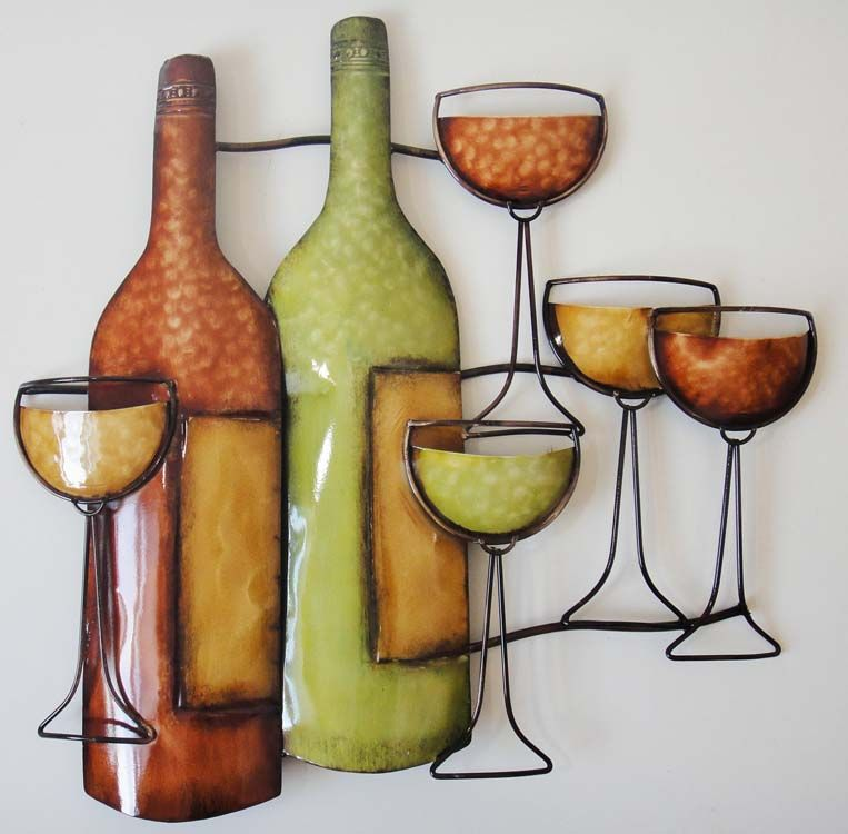 dining room metal wall art wine bottle scene dica e