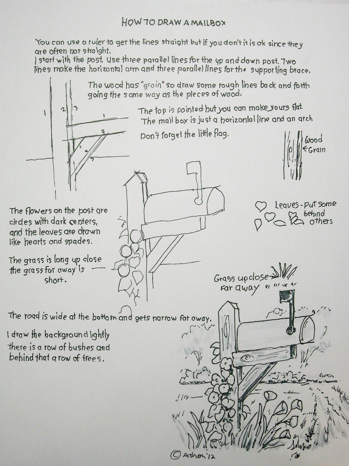 How To Draw A Mailbox Easy Worksheet