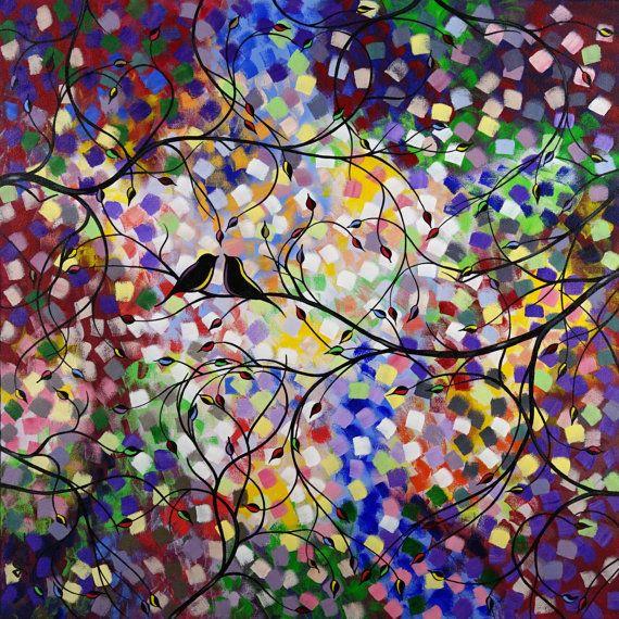 ART SALE Large Love birds Painting Heart Tree par jmichaelpaintings