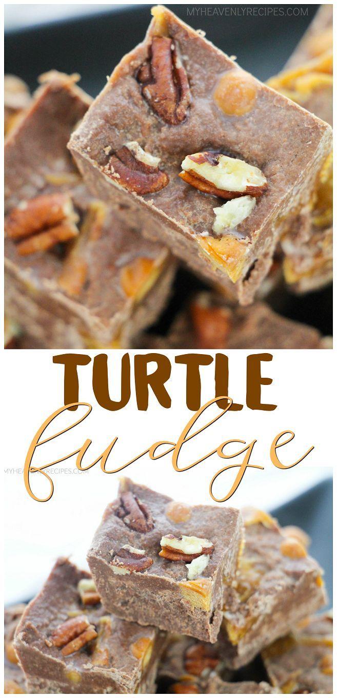 Turtle Fudge Recipe- chocolate, pecans, caramel dessert. Christmas fudge idea. Easy fudge for thanksgiving.