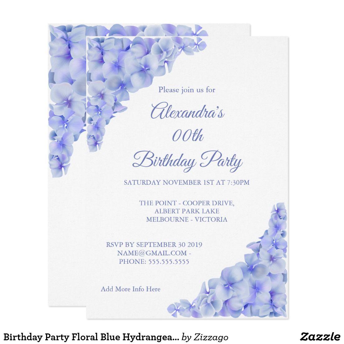 Birthday Party Floral Blue Hydrangeas White Invitation Floral