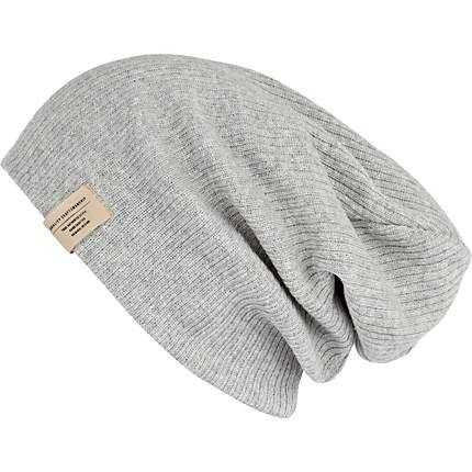 210beb4136c Grey knit beanie hat