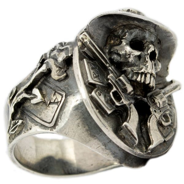 Mens 925 Sterling Silver Skull Ring Texas Cowboy Guns and Poker Cards Biker Jewelry
