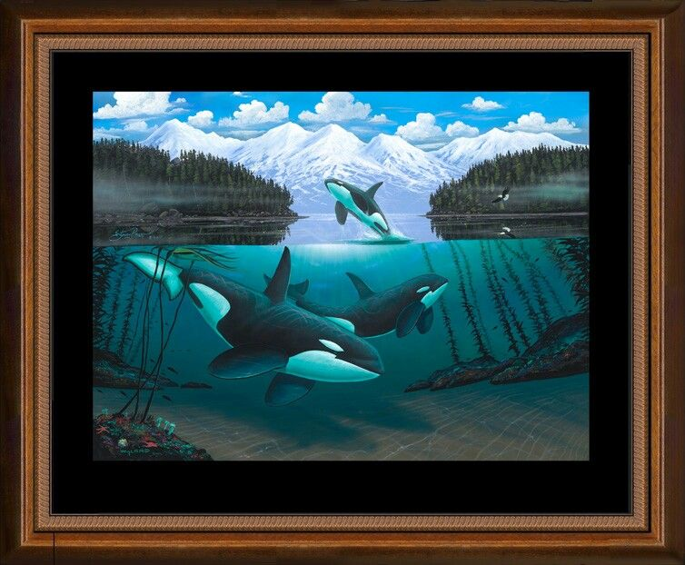 "WYLAND /""IN THE COMPANY OF ORCAS/"" NEW GICLEE ON CANVAS with Certificate"