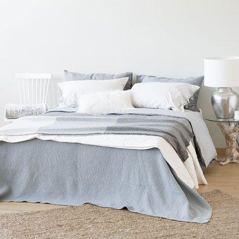 Blue Raised Design Cotton Bedspread Bedspreads Bedroom Zara