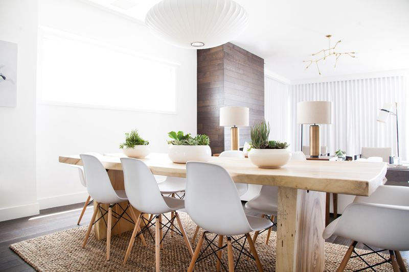 Venice Beach House Scandinavian Dining Room Dining Room Design Wood Slab Dining Table