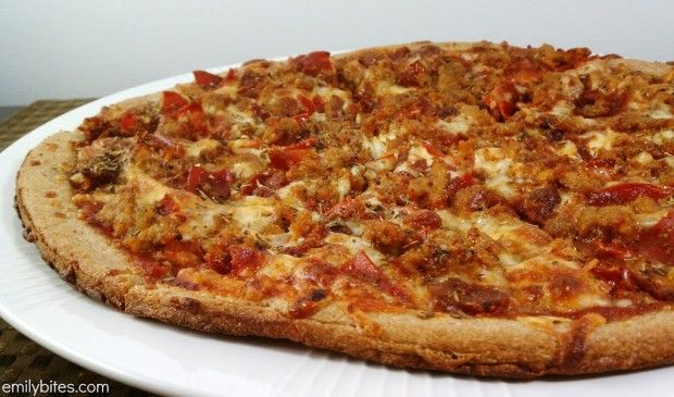 Meat Lover's Pizza: If you're looking for saucy, cheesy pizza piled with spicy sausage, zippy pepperoni and smoky bacon, look no further! Only 207 calories or 6 Weight Watchers SmartPoints per slice! www.emilybites.com