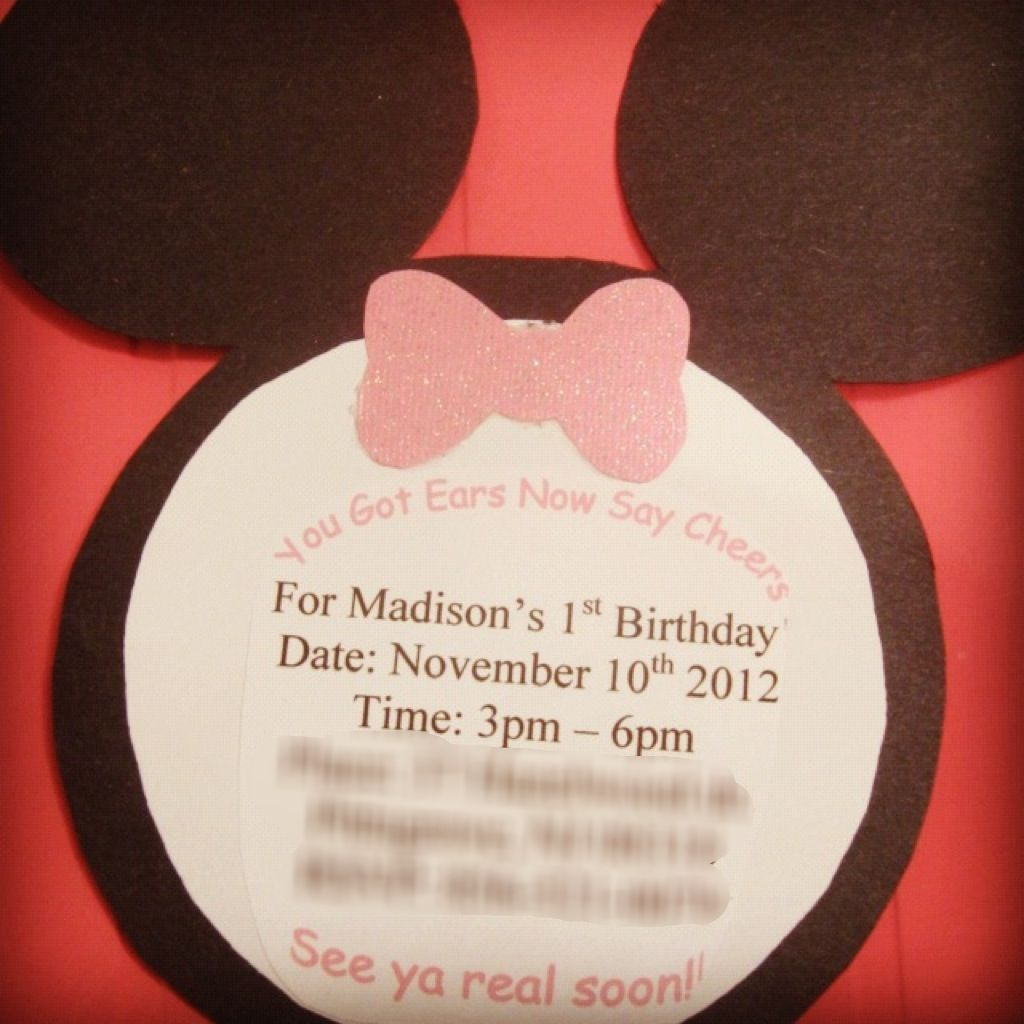 Homemade Minnie Mouse first birthday invitations for my daughters ...