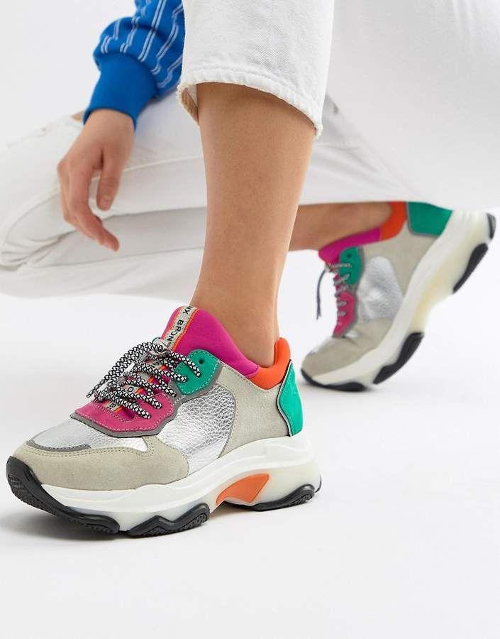 15c69c1a9ed59 Bronx multi brights metallic suede chunky sneakers