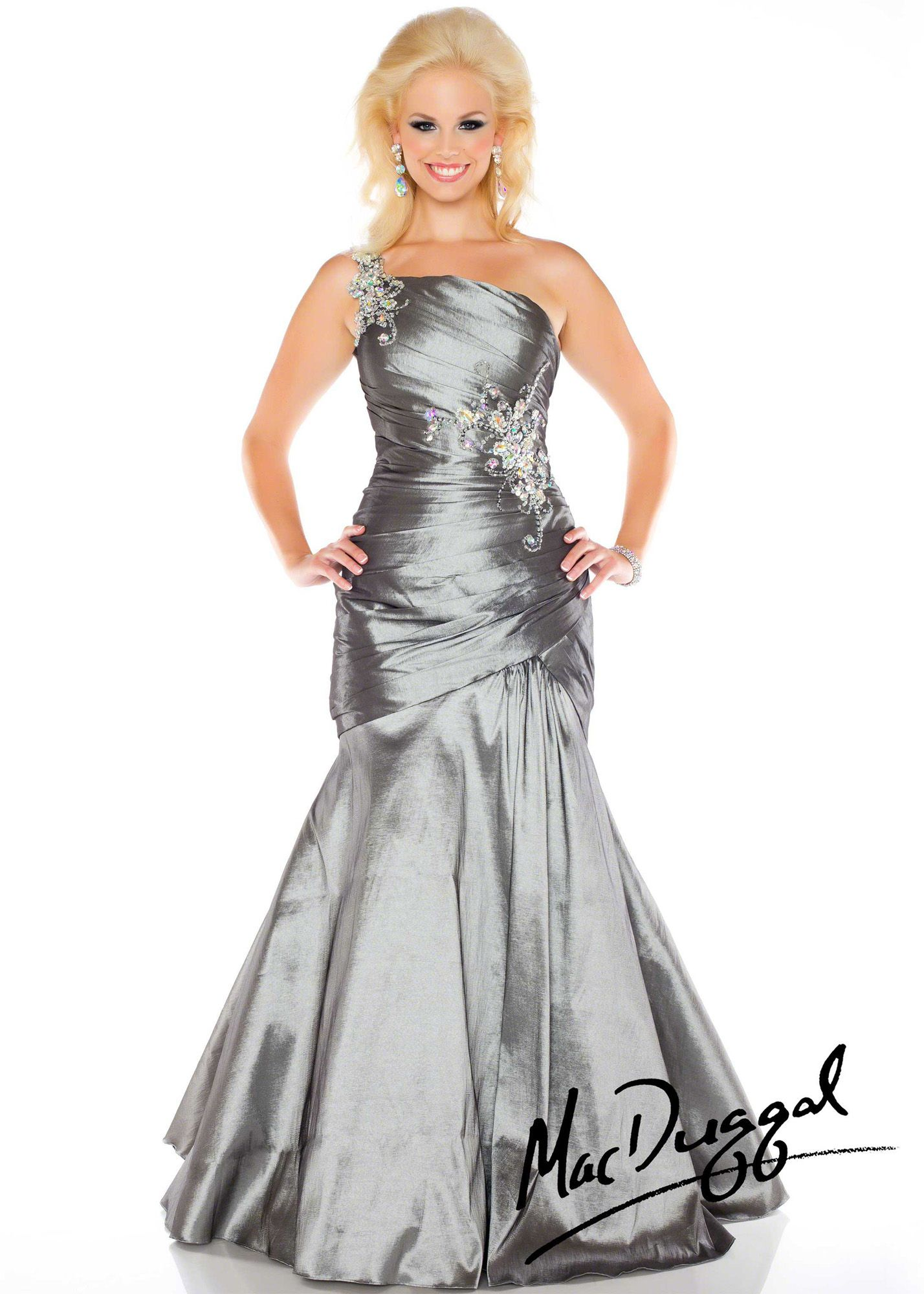 88545c1e62f Mac Duggal 82058F - Charcoal One Shoulder Plus Size Prom Dresses Online   thepromdresses