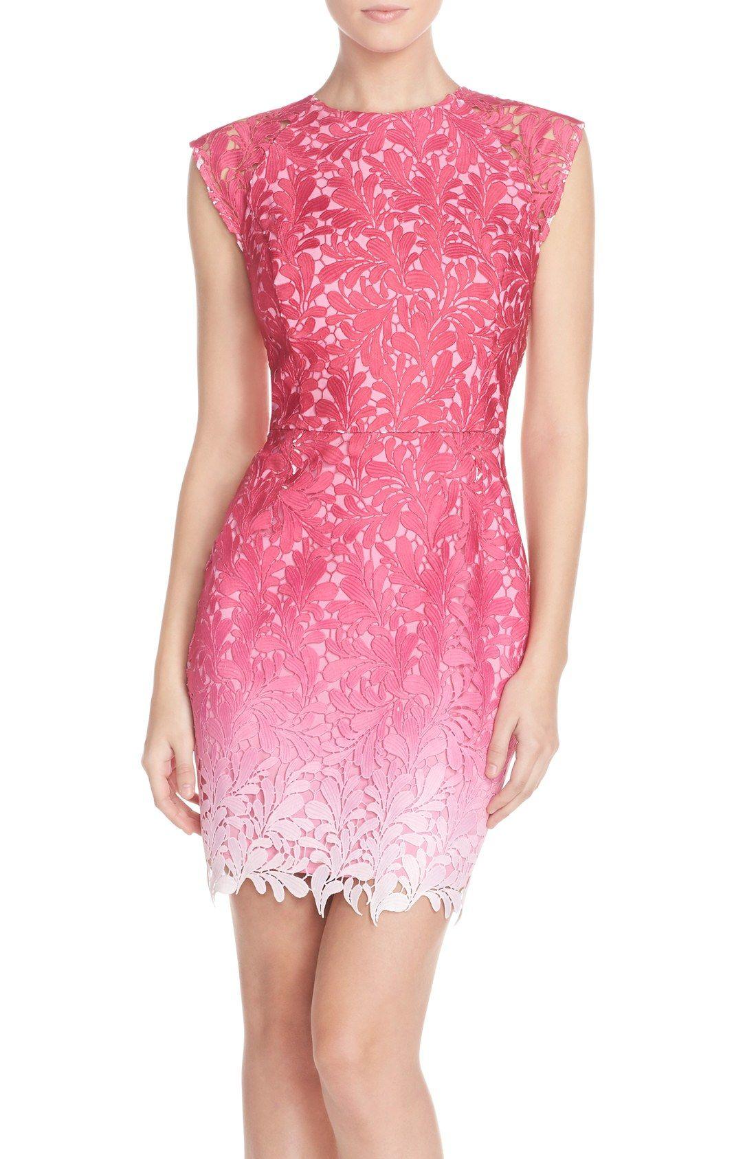 Nordstrom dresses wedding guest  Adelyn Rae Ombré Lace Sheath Dress  Dress Me Up  Pinterest  Lace