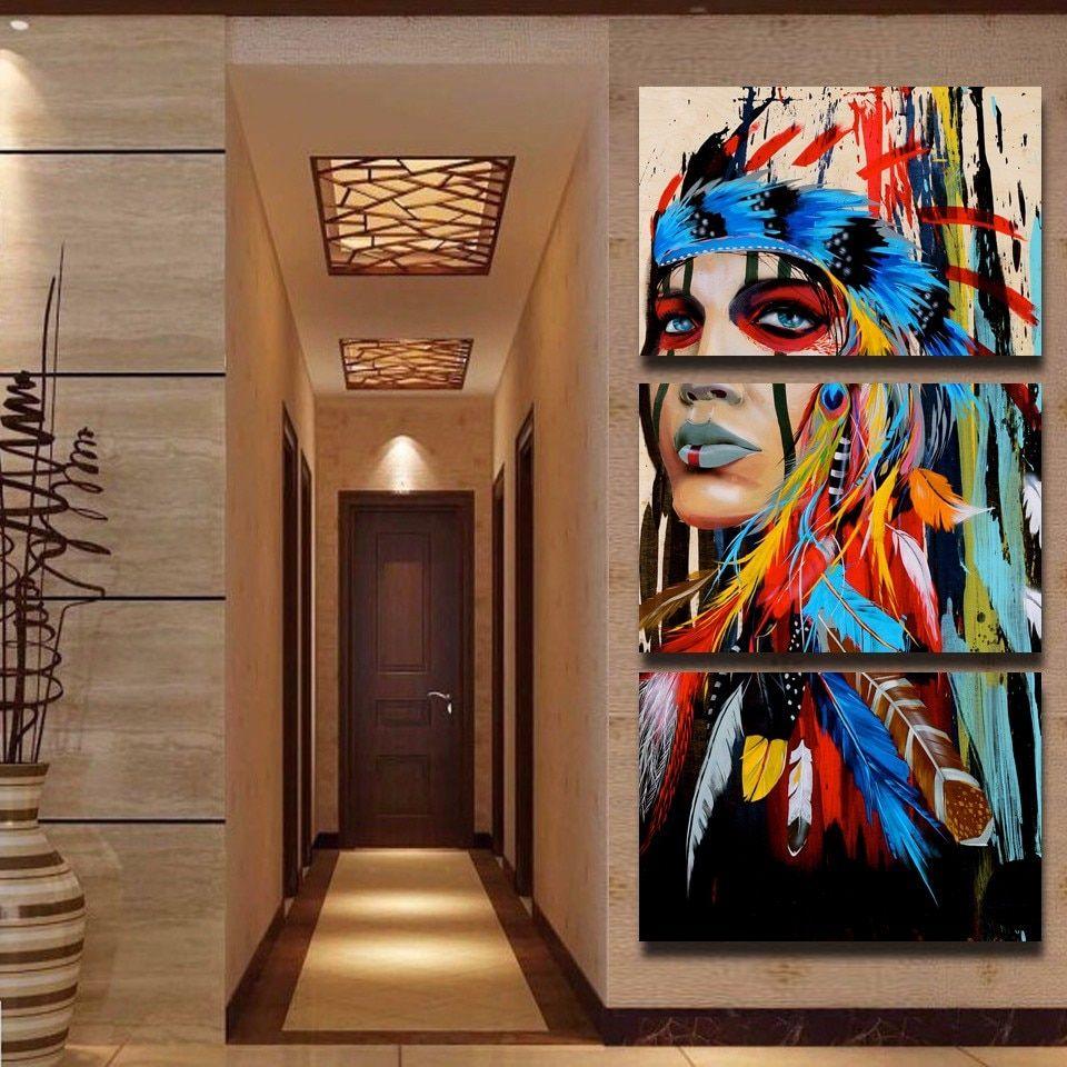 Pas Cher Hd Imprime 3 Pieces Toile Art Peinture Indien Amerindien Avec Des Photos De Decoration De Plumes Pour Affiche D Art Mural Peintures Indiennes Peinture