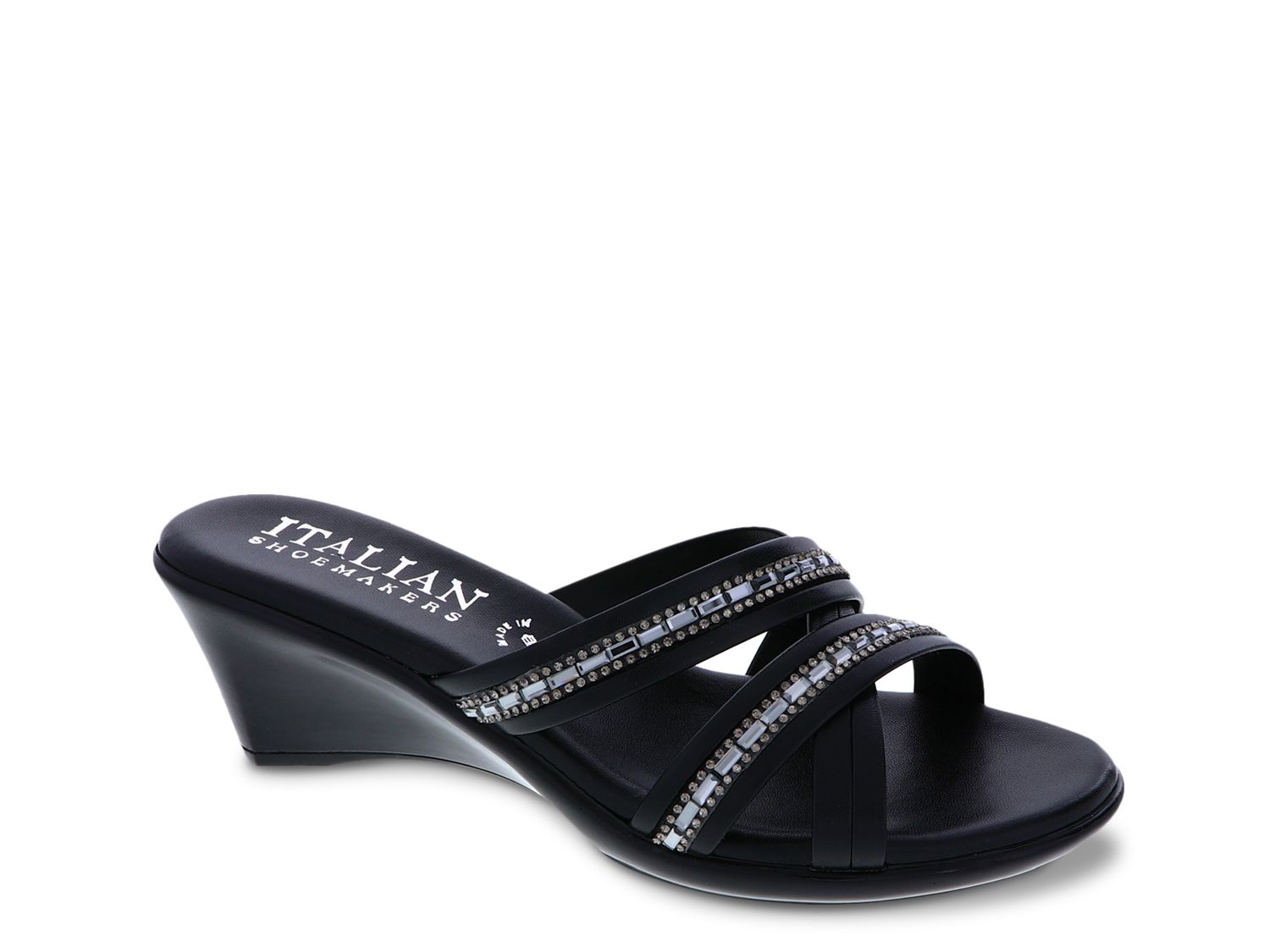 Italian Shoemakers-Passion Wedge Sandal Add glam to your look with the Passion wedge sandal from Italian Shoemakers. Designed with jewel-embellished straps, this slide sandal has a padded footbed and supportive sole.