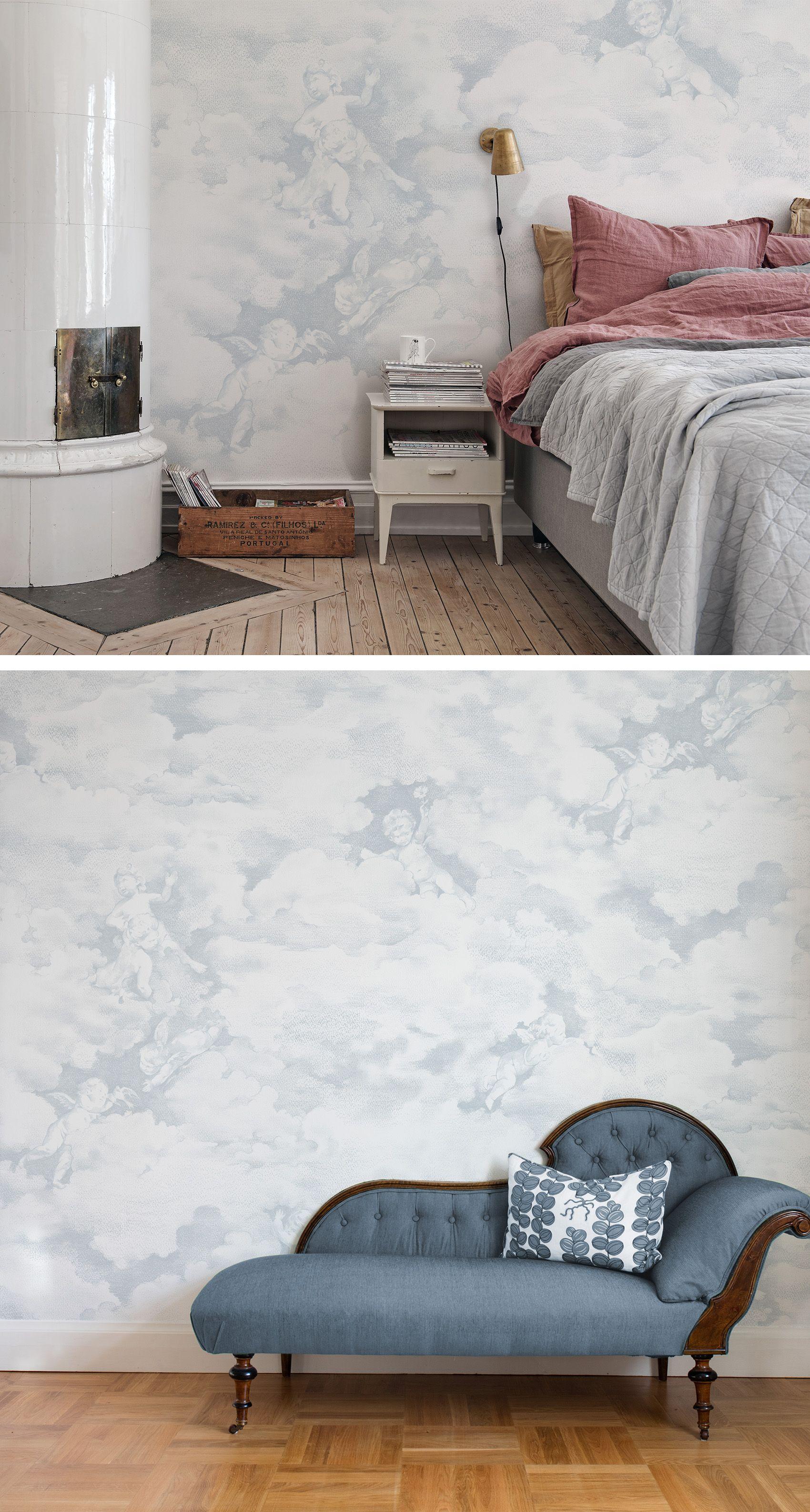 Tapete Kinderzimmer E | Chubby Cherubs Blue Pinterest