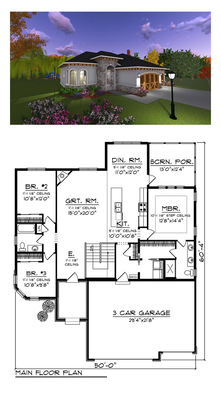 Italian Style House Plan 75234 With 3 Bed 2 Bath 3 Car Garage Ranch Style House Plans Rambler House Plans New House Plans