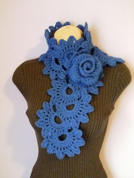 7aa58ab5ae8 Crochet SCARF/ NECKWARMER with Crochet Flower Brooch, Women Scarf ...