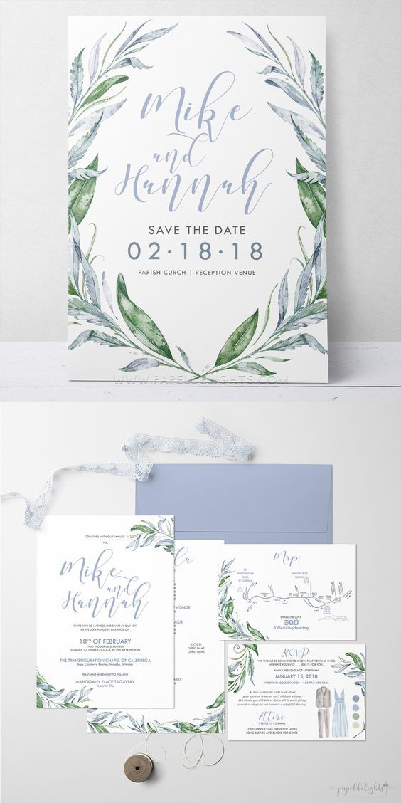 olive leaf spring wedding invitations/ rustic chic spring wedding ...