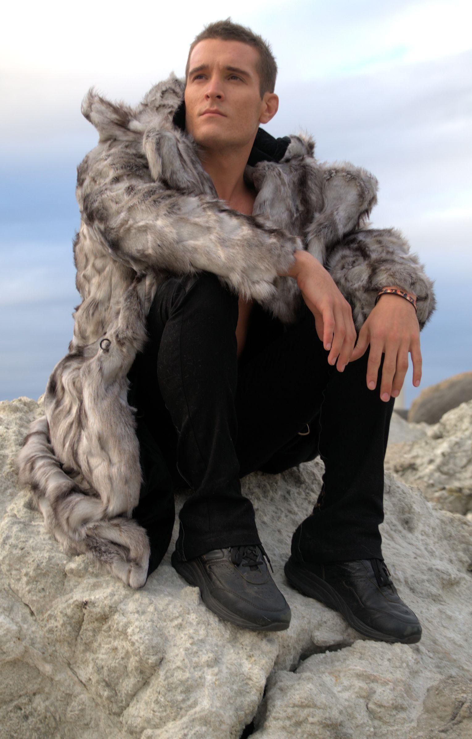 Men's Faux Fur Vandal Coat in Truffle