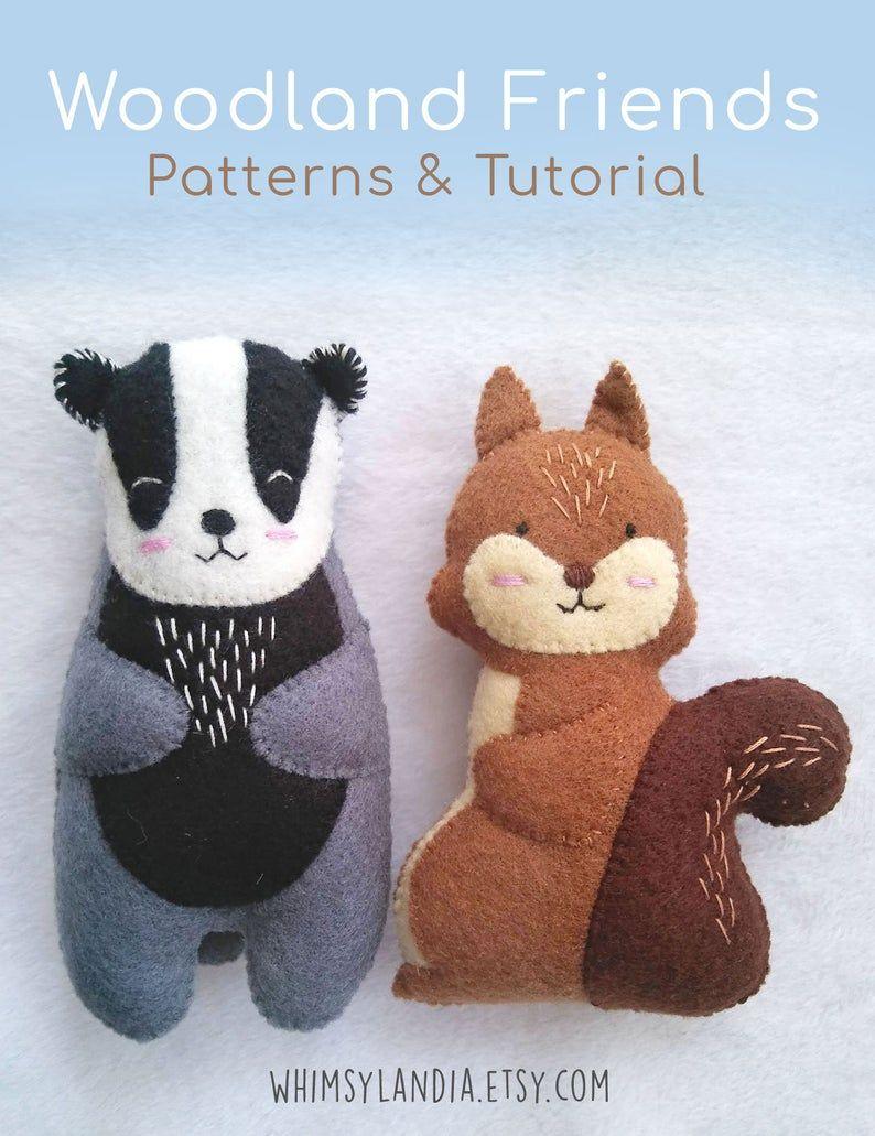 Pdf Pattern Of Woodland Animals Felt Badger And Squirrel Plush Felt Animals Animal Sewing Patterns Baby Soft Toys [ 1031 x 794 Pixel ]