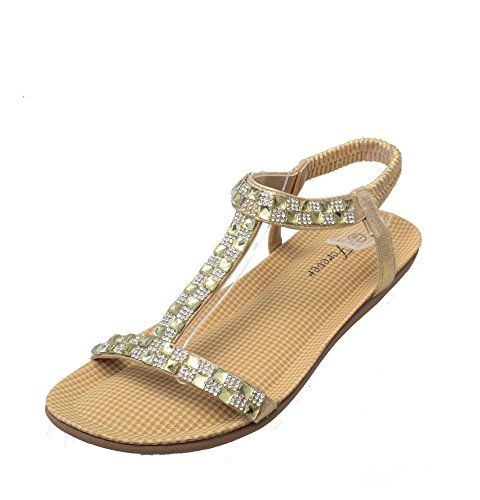 fc2f30c4a Forever Calista-55 Womens Open Toe Rhinestones T-strap Sandals Bling Bling  Flexible Flat