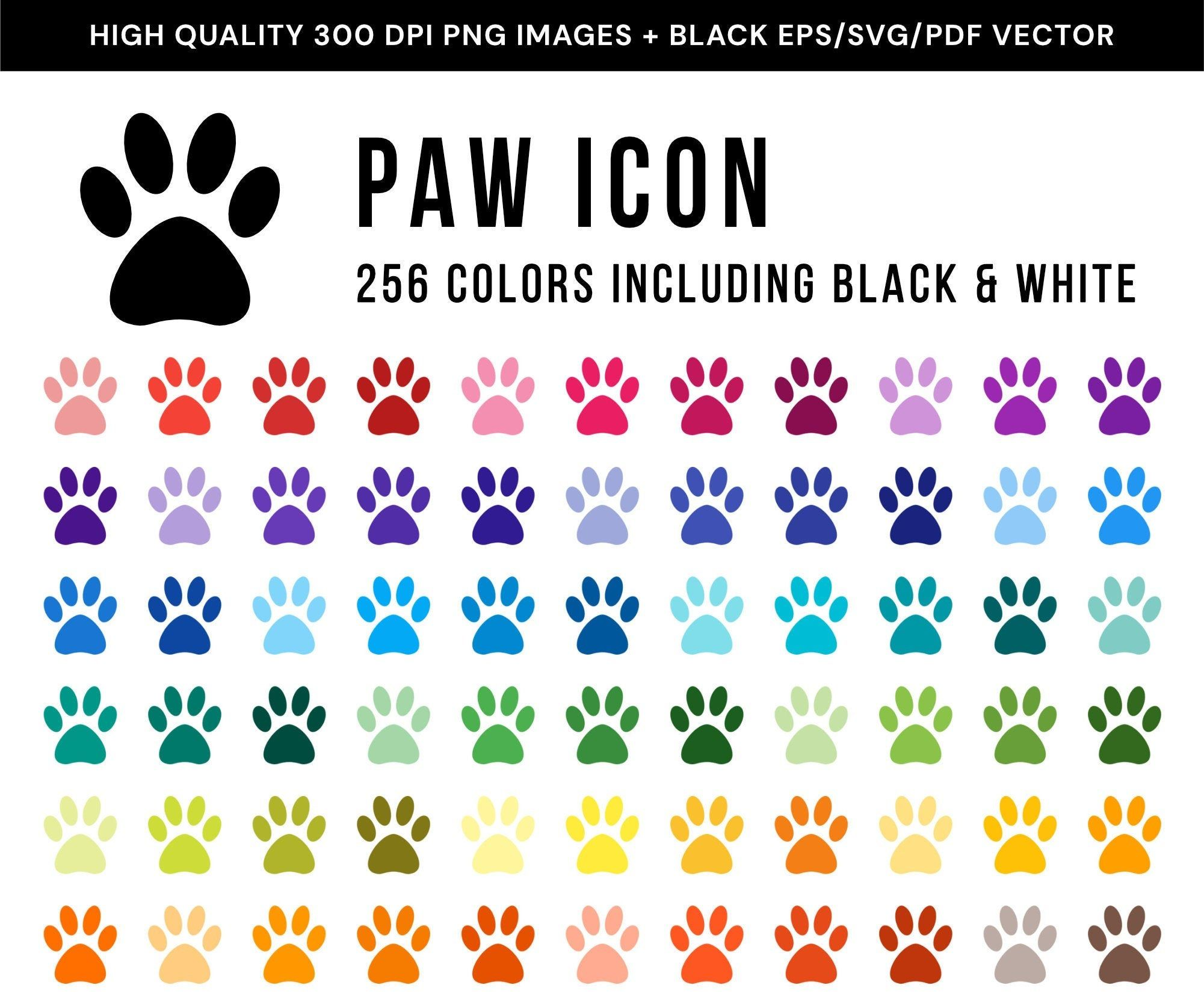 256 Paw Icons Clip Art MultiColored Animal Print Vector