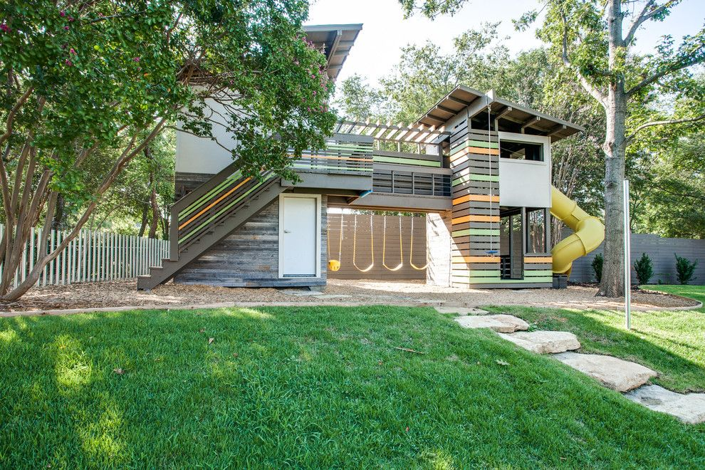 Superb playhouse with slide in Kids Contemporary with Two-story Playhouse next to Deck Playground Slide alongside Tree House and Tea House
