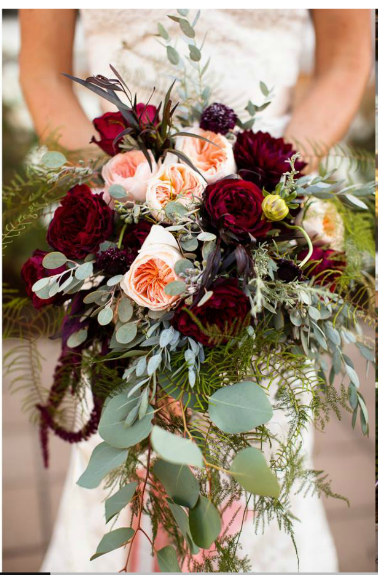 cascade of burgundy and blush peonies Bridal