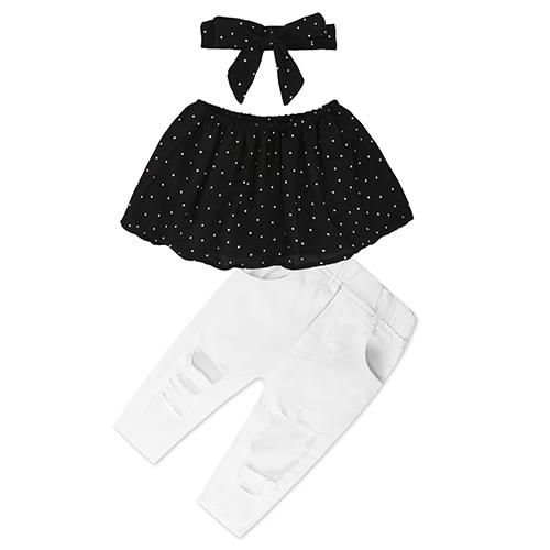 fc2834b41120d 2018 New Toddler Girls Off Shoulder Shirt & Pants Sets Collection. 2 Piece  Outfit for Girls. Sydney 3 Piece Ruffle Polka Dot Tube Top Set