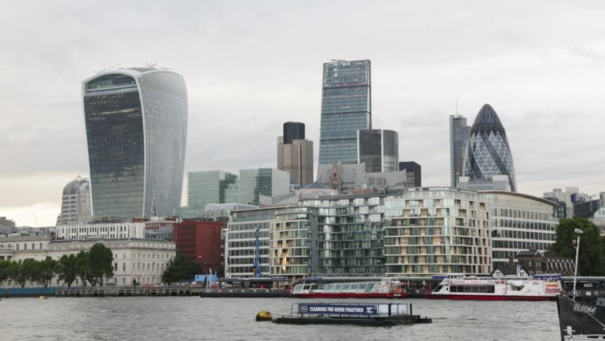 London Cityscape Skyline, Thames River, Swiss Re, Gherkin, St Mary ...