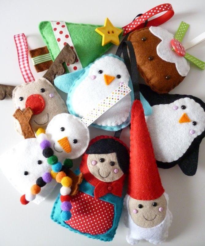cute ideas for felt Christmas ornaments munecos fieltro