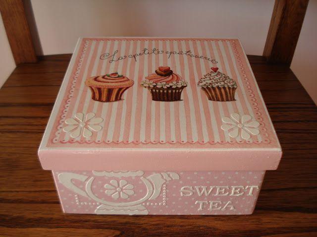 Naranja y fucsia caja de te cupcakes cajas diversas - Caja madera manualidades ...