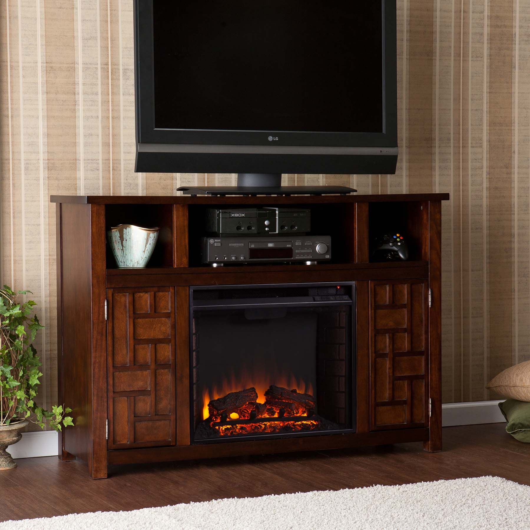 Elegantly Crafted Rustic Electric Fireplaces Fireplace Tv Stand Tv Stand With Fireplace Insert Large Tv Stands