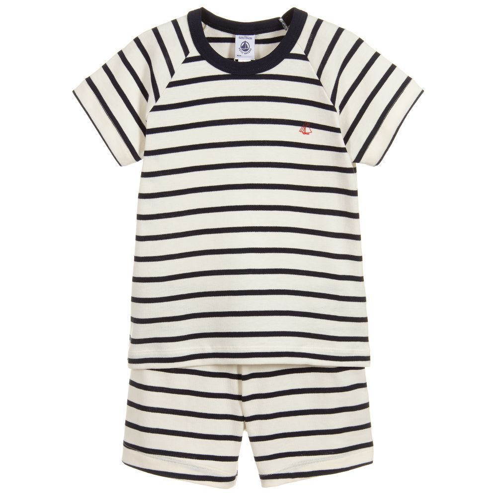 cc8064d5a8fb A pair navy blue and ivory Breton style pyjamas for girls and boys ...