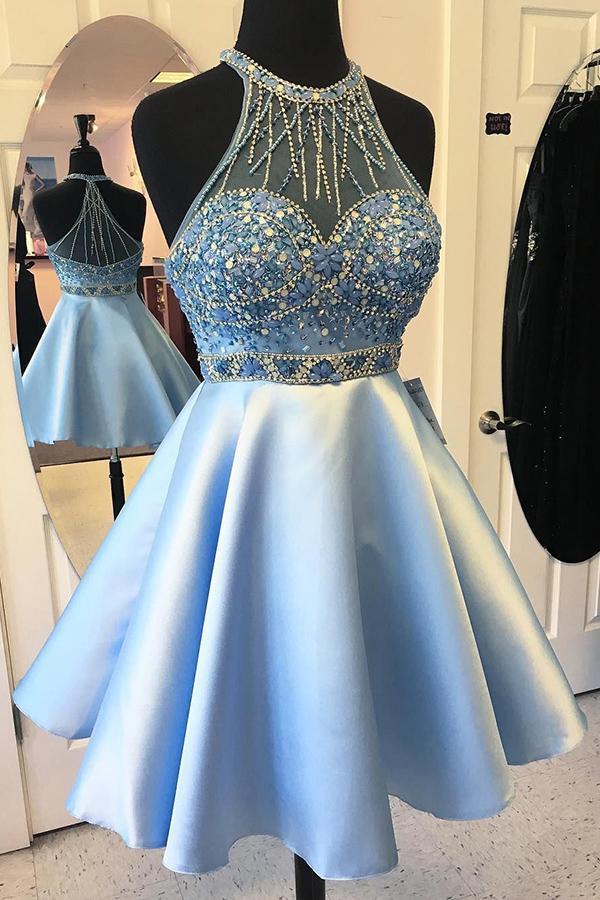 ad836c65d2e Cute Halter Beading Satin Blue Short A-line Homecoming Dresses Z1094 ...