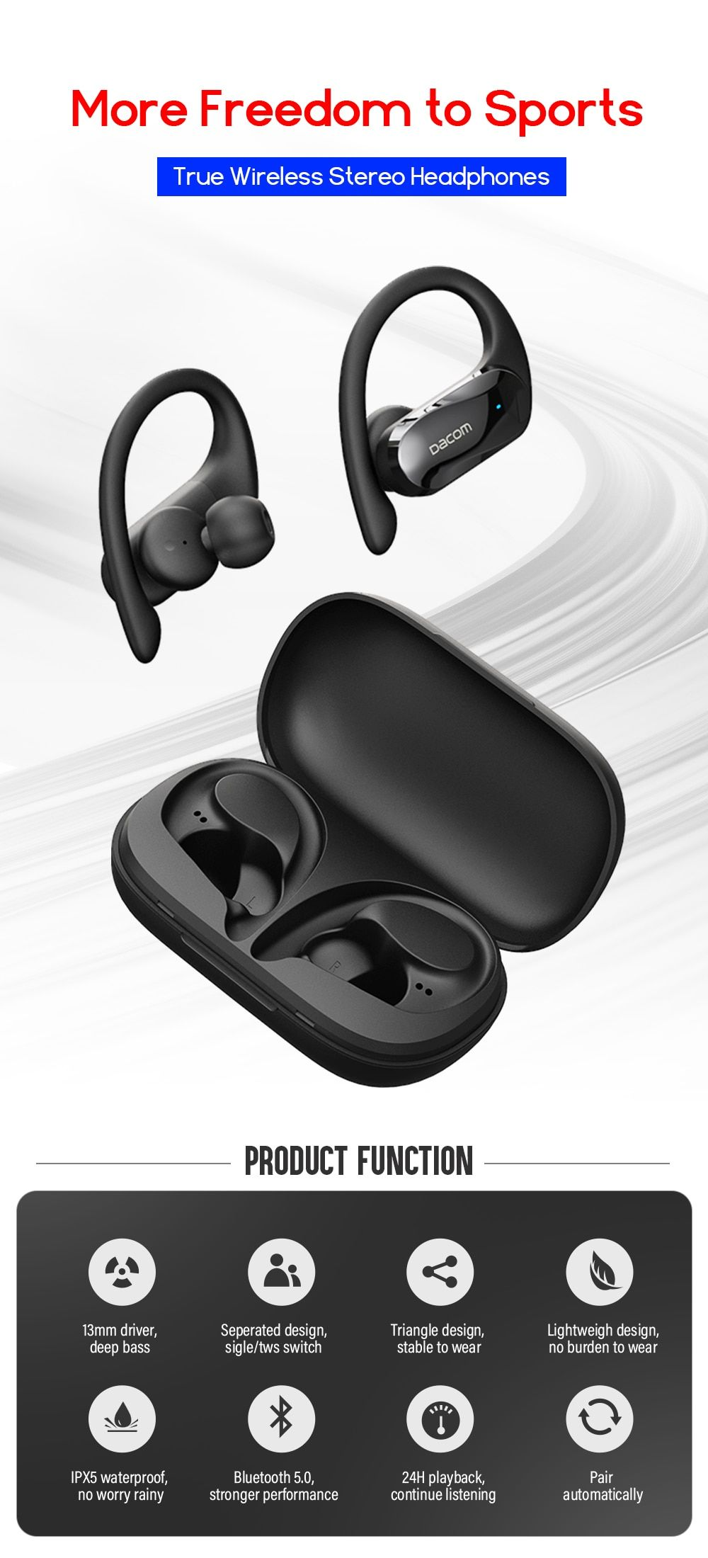 Dacom G05 Tws Bluetooth Earphones Bass True Wireless Stereo Earbuds Sports Headphone Ear Hook Running Headset For Iphone Samsung In 2020 Sport Earbuds Sports Headphones Bluetooth Earphones