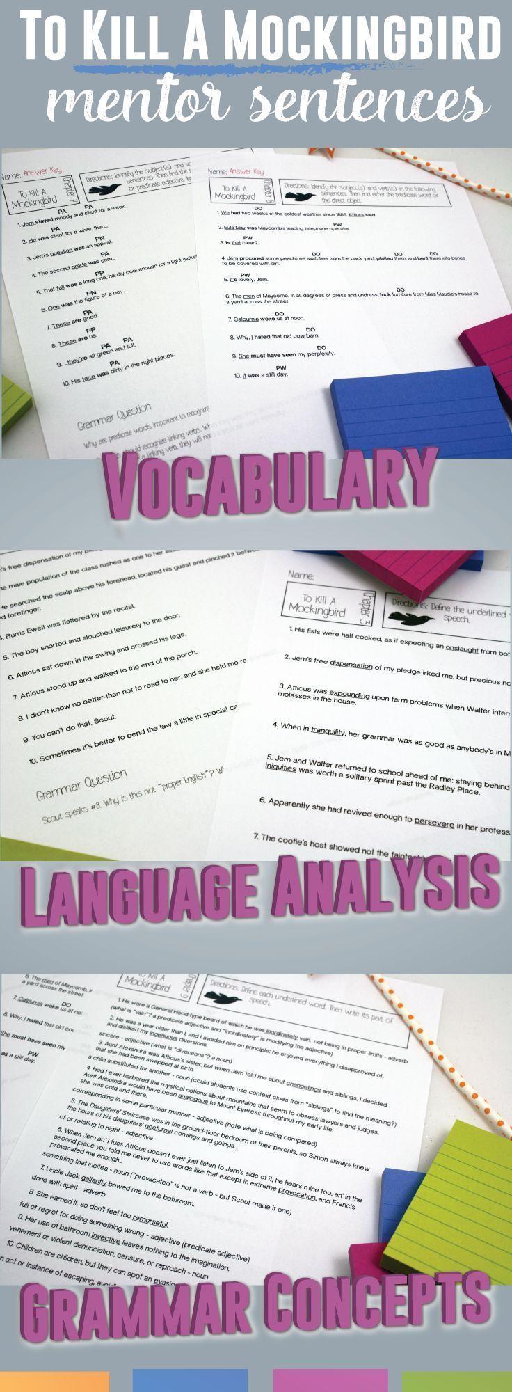 worksheet To Kill A Mockingbird Vocabulary Worksheet mentor sentences for to kill a mockingbird analyze the language discuss implications of