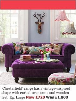 Purple Velvet Sofa With Colourful Cushions Wow
