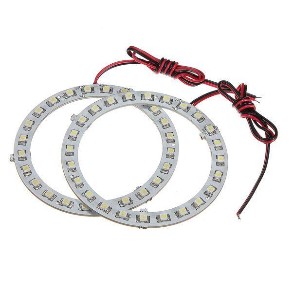 Us 5 89 Pair 12v White Angel Eyes Headlight For Bmw 24smd Led Ring Car Light Pair White