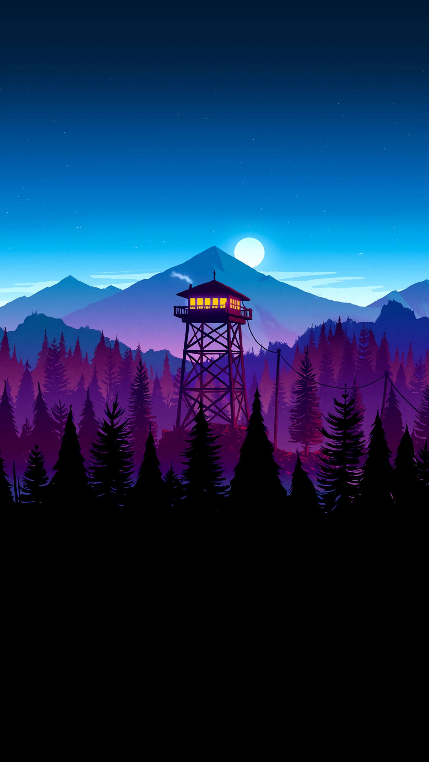 Firewatch Night Time Scene 1440x2560 Imgur Scenery Wallpaper Landscape Wallpaper Minimalist Wallpaper