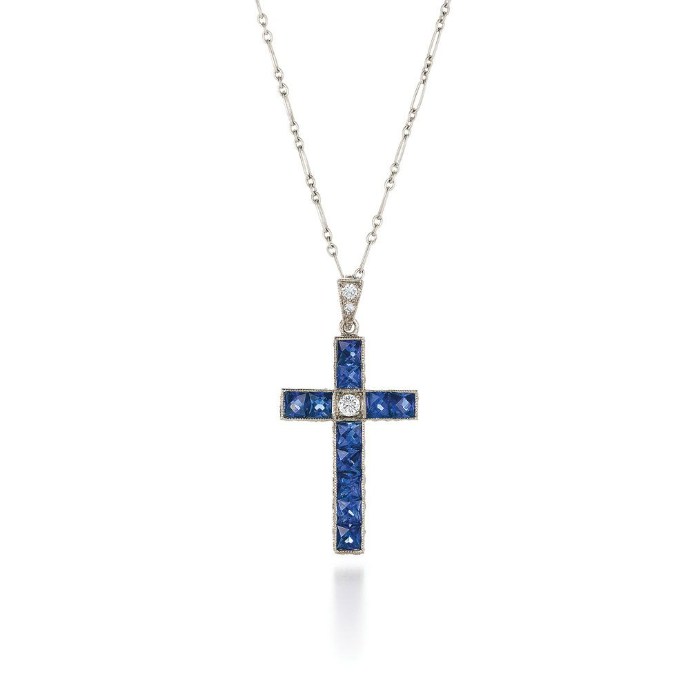 Blue sapphire and diamond cross pendant from the kwiat vintage blue sapphire and diamond cross pendant from the kwiat vintage collection in 18k white gold aloadofball Choice Image