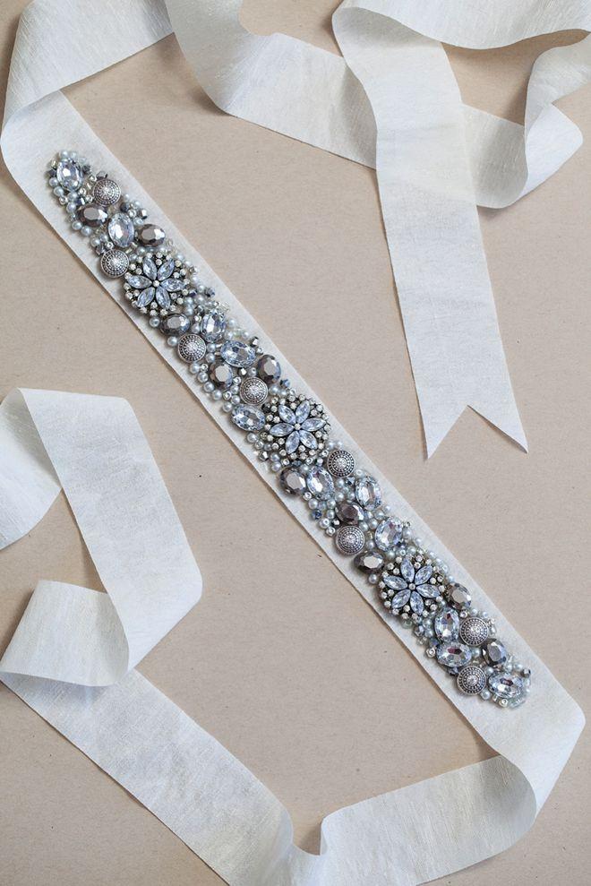 DIY: rhinestone bridal sash