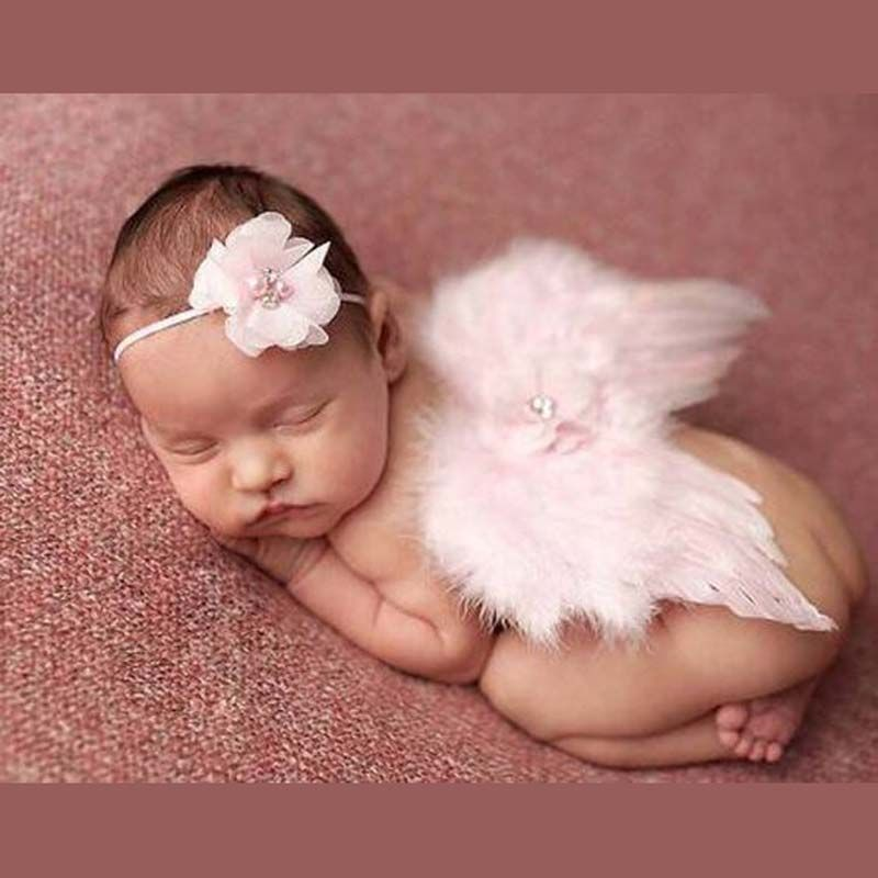 Baby Newborn Feather Wing Rose Headband Photograph Prop Suit Infant Clothes Suit