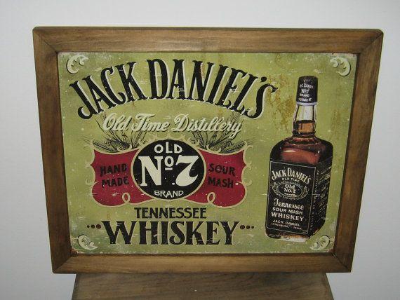 Garage Decor Signs Magnificent Framed Vintage Style Tin Sign Jack Daniel's No & Whiskey  Bar Design Ideas