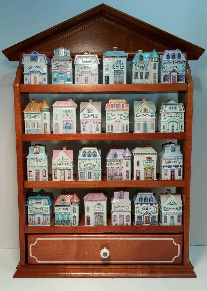 1989 LENOX The SPICE VILLAGE Porcelain Building House 24 Jar Set Wooden Rack WOW