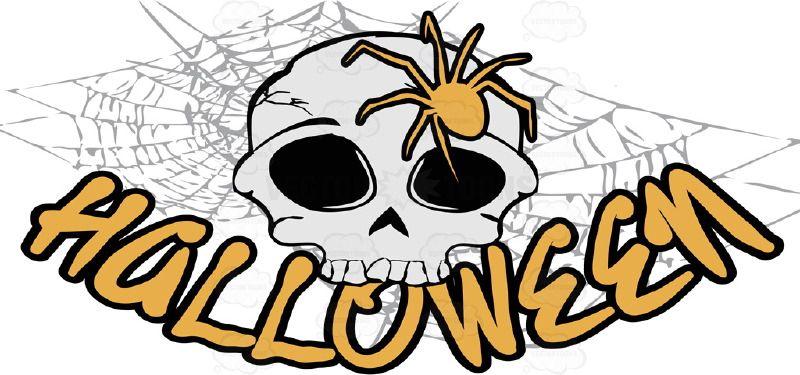 skull with orange spider over word halloween in orange spider web