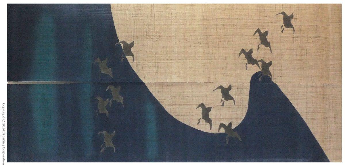 Yuzen Hand Painted Hemp Noren Wild Geese 28 3 8 W X 59 L