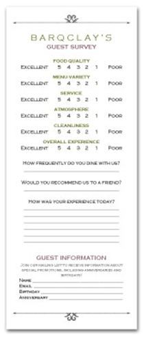 hotel comment card template Cards Comment And Tabletents For Your Restaurant Or Hotel | Menu ...