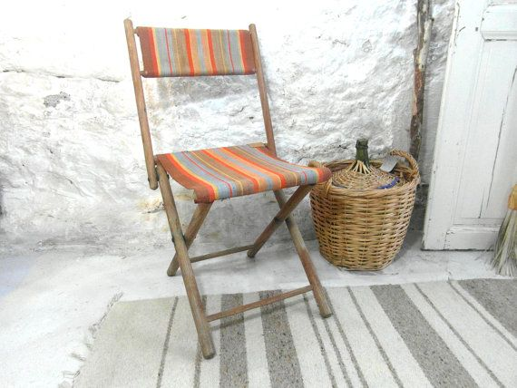 Wooden Camping Chair Canvas Seat Folding French Vintage Stool Country Decor Boho Primative Home