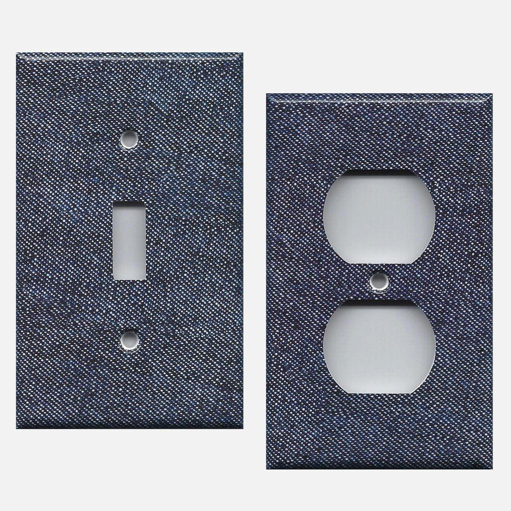 Dark Demim Blue Jean Look Navy Hand Made Light Switch Plates Outlet Covers