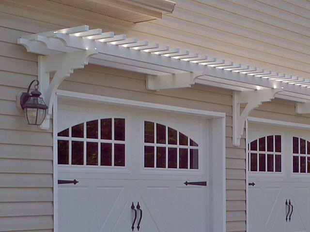 Garage trellis above carriage doors - Vinyl Arbor Over Garage Door Landscape Design Pinterest